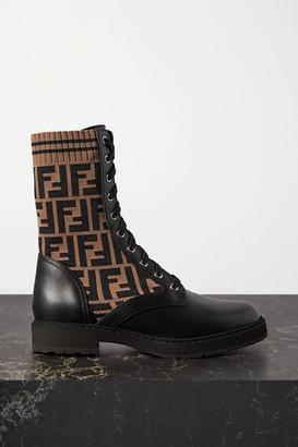 Fendi Rockoko Logo-jacquard Stretch-knit And Leather Ankle Boots - Black