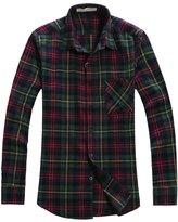 OCHENTA Men's Long Sleeve Casual Plaid Flannel Shirt