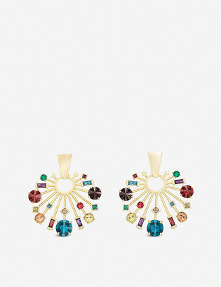 Kendra Scott Fabia 14ct gold-plated and crystal earrings
