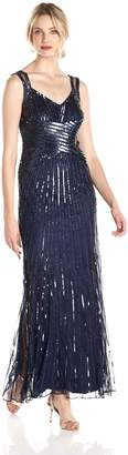 JS Collections Women's Beaded Cross-Front Mesh Gown