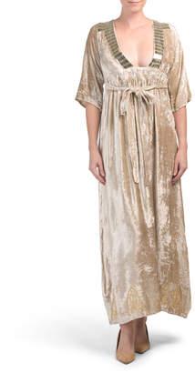 Plunging Neckline Velvet Maxi Dress