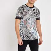 Mens White baroque print slim fit T-shirt