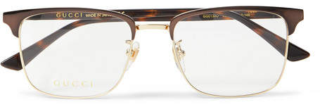 Gucci Square-Frame Tortoishell Acetate And Gold-Tone Optical Glasses