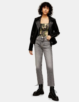 Topshop straight leg jeans in grey
