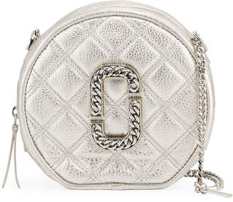 Marc Jacobs The Round Metallic Leather Crossbody Bag