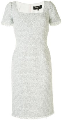 Paule Ka Tweed Square Neck Fitted Dress