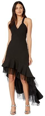 BCBGMAXAZRIA Crisscross Gown with Tulle (Black) Women's Dress
