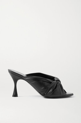 Balenciaga Drapy Knotted Leather Mules - Black