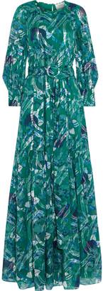 BA&SH Joie Metallic Printed Fil Coupe Silk-blend Maxi Dress