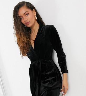 ASOS DESIGN Petite jersey wrap suit blazer in black velvet