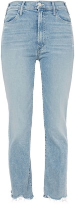 Mother Frayed Faded High-rise Slim-leg Jeans