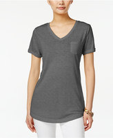 Style&Co. Style & Co. V-Neck Burnout Pocket Tee, Only at Macy's
