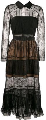 Self-Portrait point-collar lace midi dress
