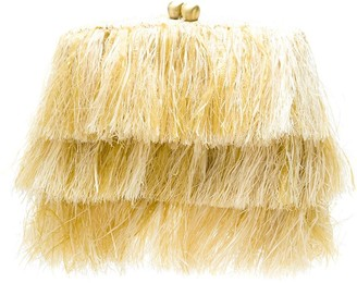 Serpui Marie Raffia Fringed Clutch