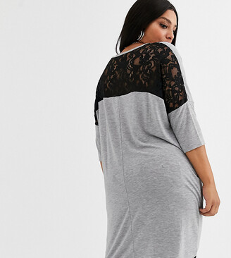 Vero Moda Curve longline t-shirt with lace back detail in grey
