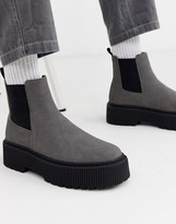 Asos Design DESIGN chelsea boots in grey faux suede with chunky sole