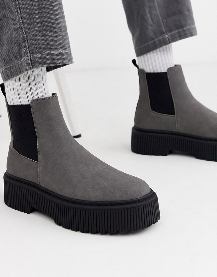 Asos DESIGN chelsea boots in grey faux suede with chunky sole