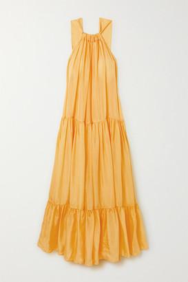 Kalita Asiri Tiered Silk-habotai Maxi Dress - Yellow