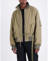 Helmut Lang High-collar Brushed-cotton Bomber Jacket