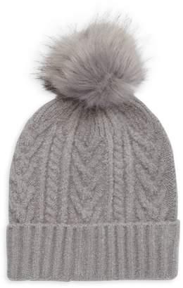 MARCUS ADLER Cable-Knit Faux Fur Pom-Pom Beanie