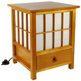 Oriental Furniture Asian Zen Indirect Lighting, 19-Inch Hokkaido End Table Nightstand Japanese Lantern with Drawer
