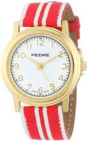 Pedre Women's 0231GX Gold-Tone with Red-White Stripe Grosgrain Strap Watch