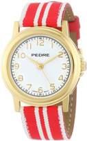 Pedre Women's 0231GX Gold-Tone with Red-White Stripe Grosgrain Strap Watch