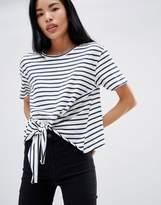 Pull&Bear Tie Front T-Shirt In Blue Stripe