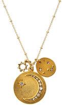 "Sequin Half Moon Talisman Pendant Necklace, 32"""