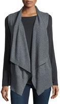 Neiman Marcus Sleeveless Draped Cashmere Vest