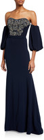 Couture Theia Off-the-Shoulder Balloon-Sleeve Beaded Column Gown