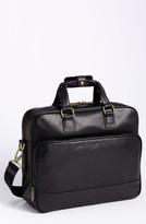 Bosca Men's Top Zip Leather Briefcase - Black