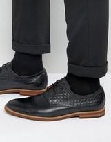 Aldo Sodano Weave Derby Shoes In Black Leather