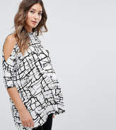Asos Petite Top With Cold Shoulder And High Neck In Scratchy Abstract Print