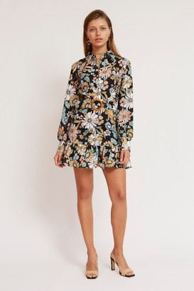 Finders Keepers SYLVIE LONG SLEEVE MINI DRESS Black Floral