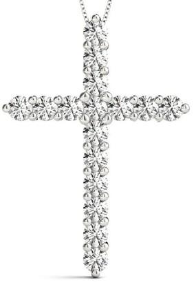 14KT Gold 1.50 CT Medium Size Round Diamond Cross Pendant Necklace Amcor Design