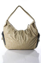 Sondra Roberts SR Squared Beige Black Leather Hobo Shoulder Handbag