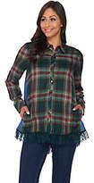 LOGO by Lori Goldstein Patchwork Button-FrontShirt