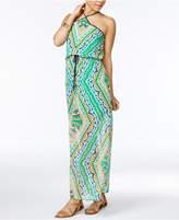 City Triangles Juniors' Printed Blouson Maxi Dress