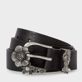 Paul Smith Men's Black Leather Floral Buckle Belt