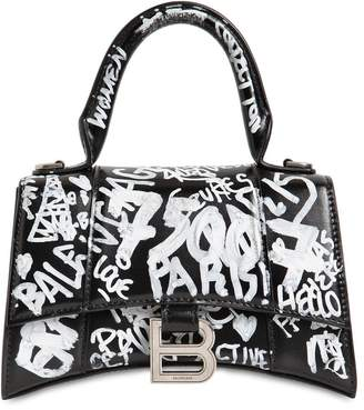 Balenciaga XS HOURGLASS GRAFFITI PRINT LEATHER BAG