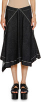 Marni Topstitched Handkerchief-Hem Skirt, Blue Black