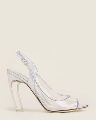Valentino Silver & Transparent Slingback Metallic Sandals