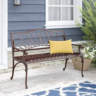 Fleur De Lis Living Upper Swainswick Spiral Cast Aluminum Outdoor Garden Bench Fleur De Lis Living Color: Brown