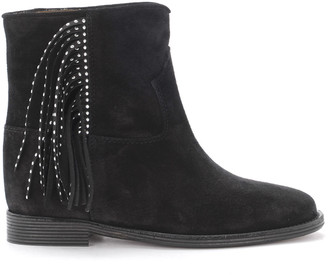 Via Roma 15 Black Suede Ankle Boots With Side Fringe