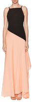 Halston Asymmetrical Colorblock Floor Length Gown