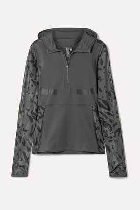 adidas by Stella McCartney + Parley For The Oceans Run Hooded Printed Climalite Top - Dark gray
