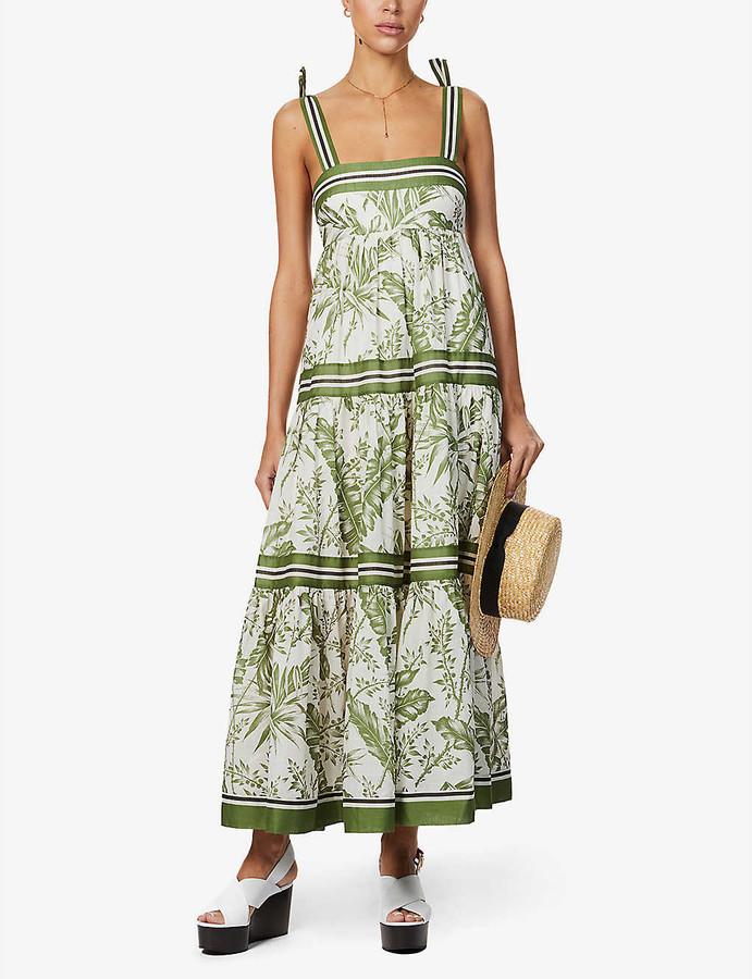 Zimmermann Palm-print cotton maxi dress