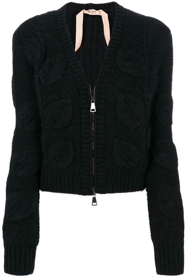 No.21 leaf knit cardigan