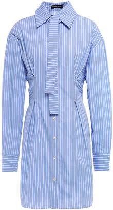 Markus Lupfer Blaise Tie-neck Striped Cotton-poplin Mini Shirt Dress